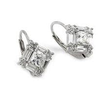 E93 925 Sterling Silver Deco Baguette and Princess Cut Leverback Earrings
