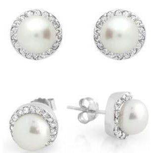 E40 Carrie Freshwater Pearl 925 Sterling Silver Bridal Earrings