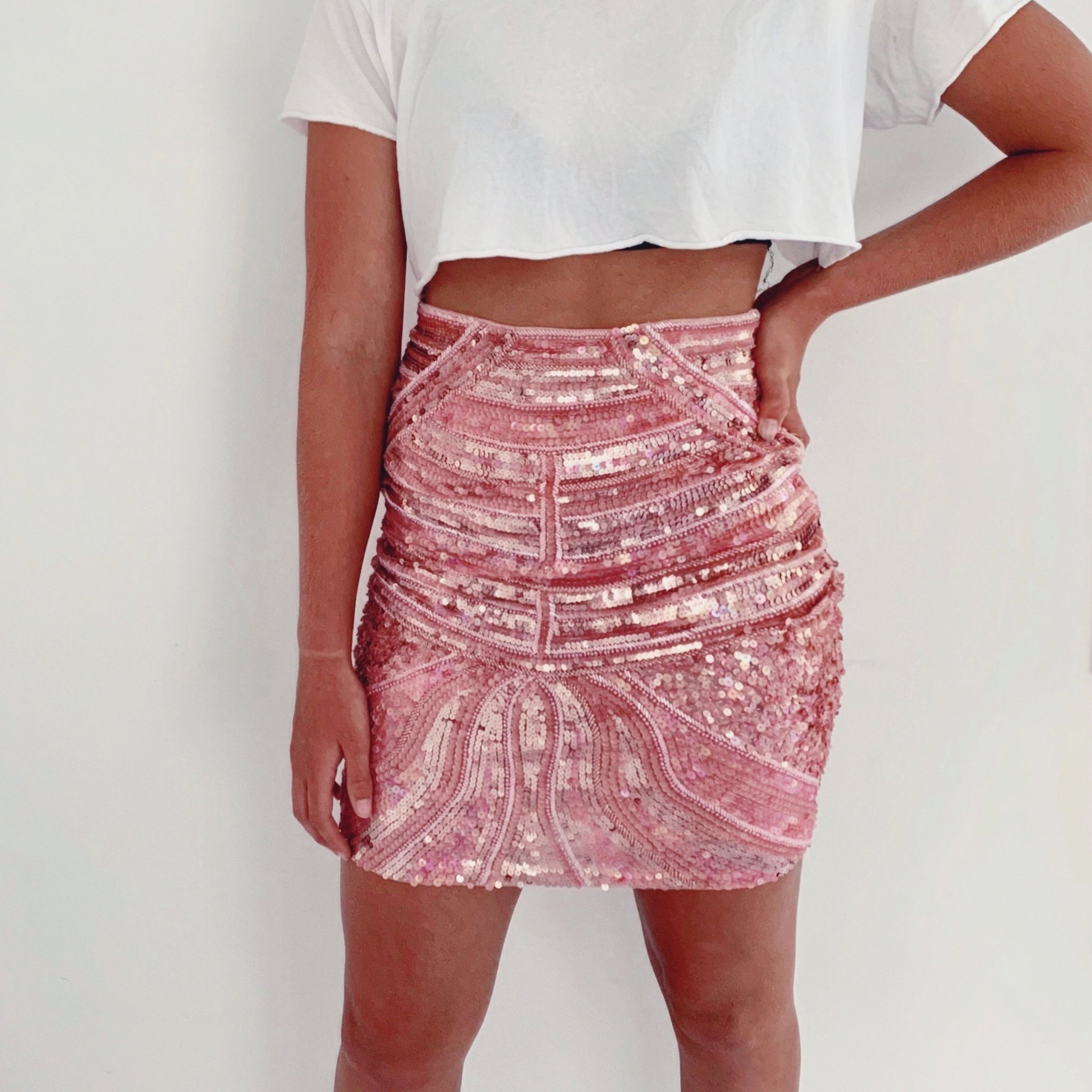 Blush Sequin MIDI (knee length)  Bodycon