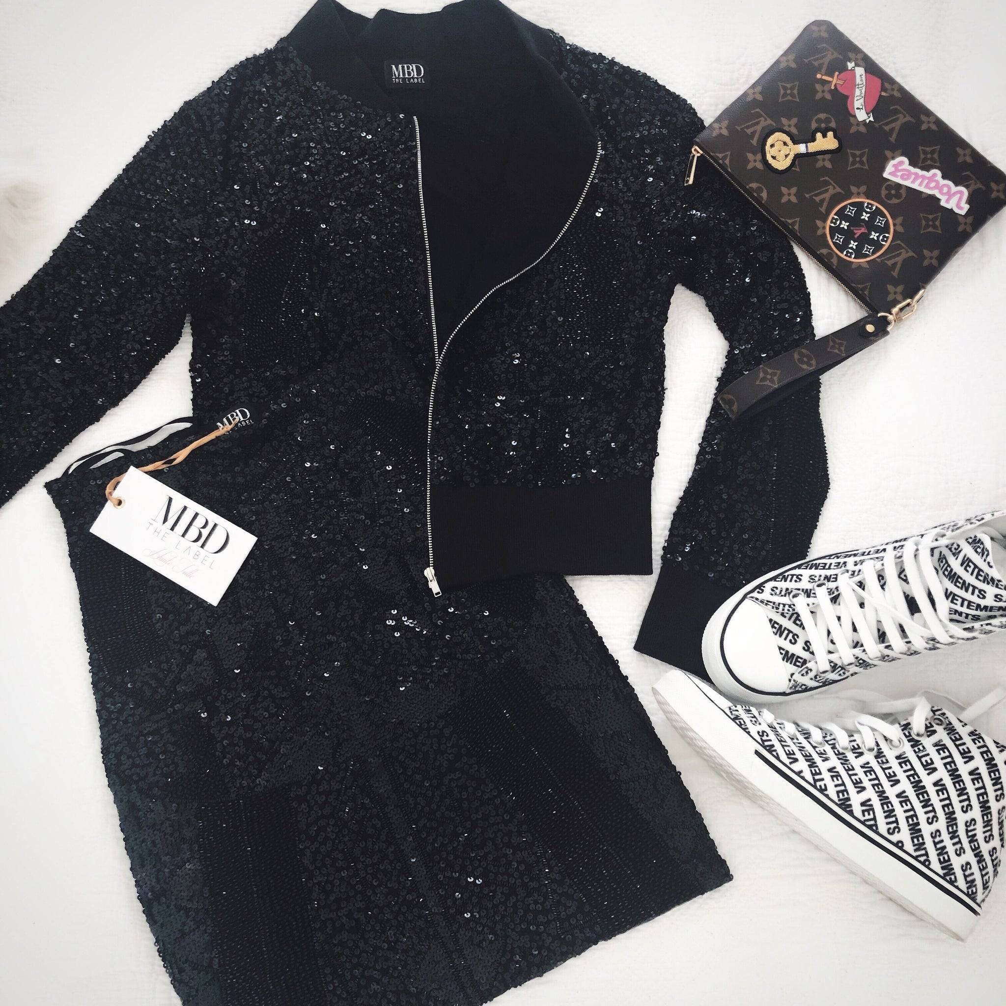 Bomber Jacket - Black Sequin