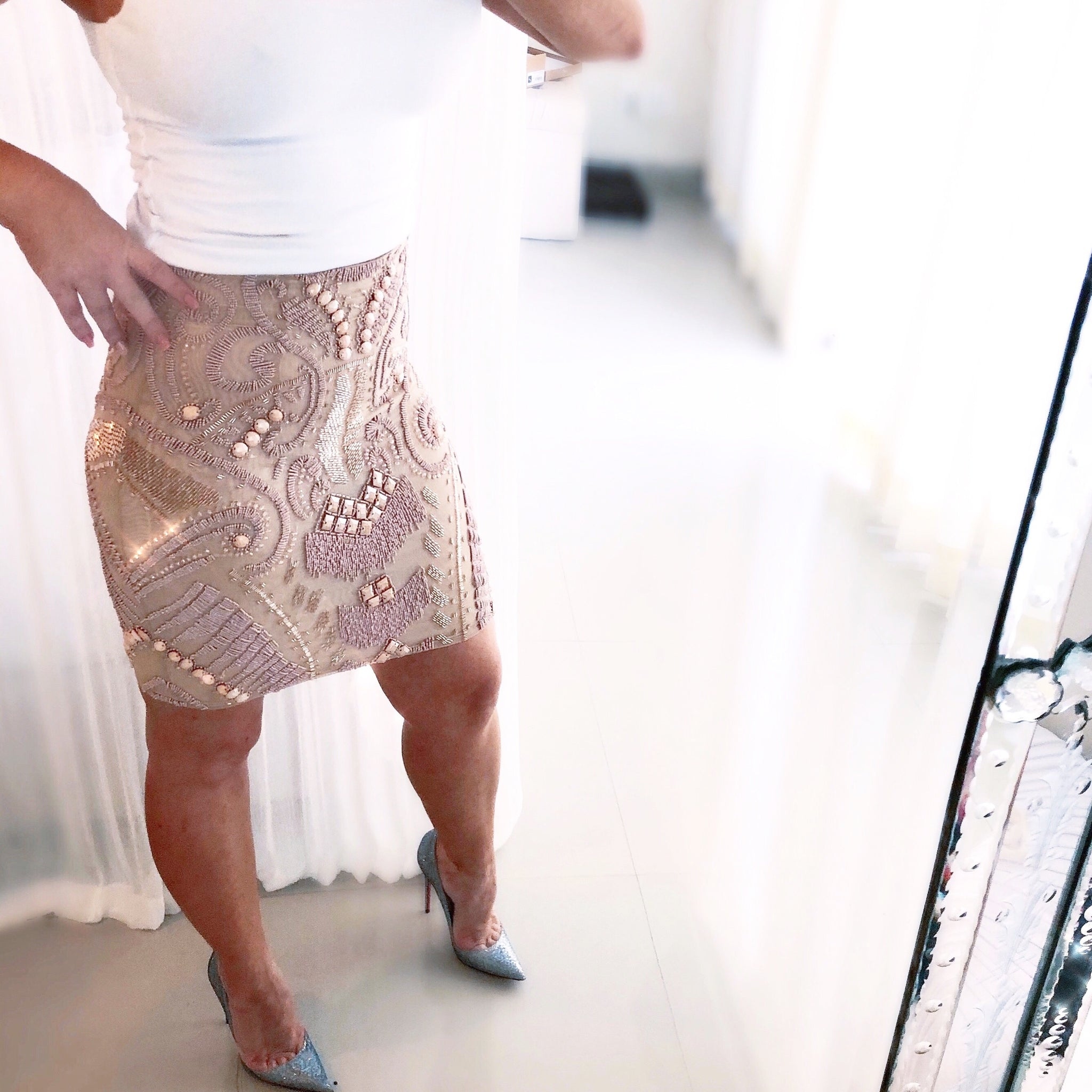 NUDE beaded midi (knee length) skirt
