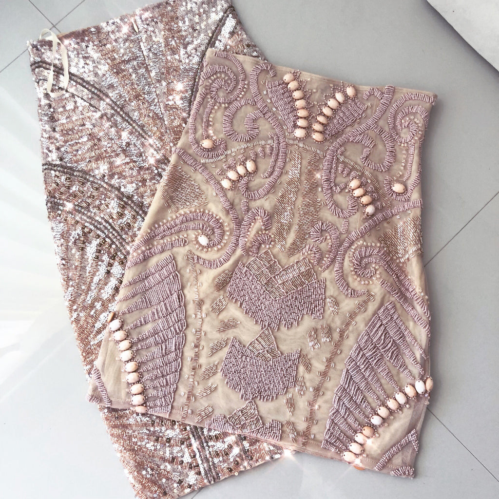 NUDE beaded mini (short) skirt
