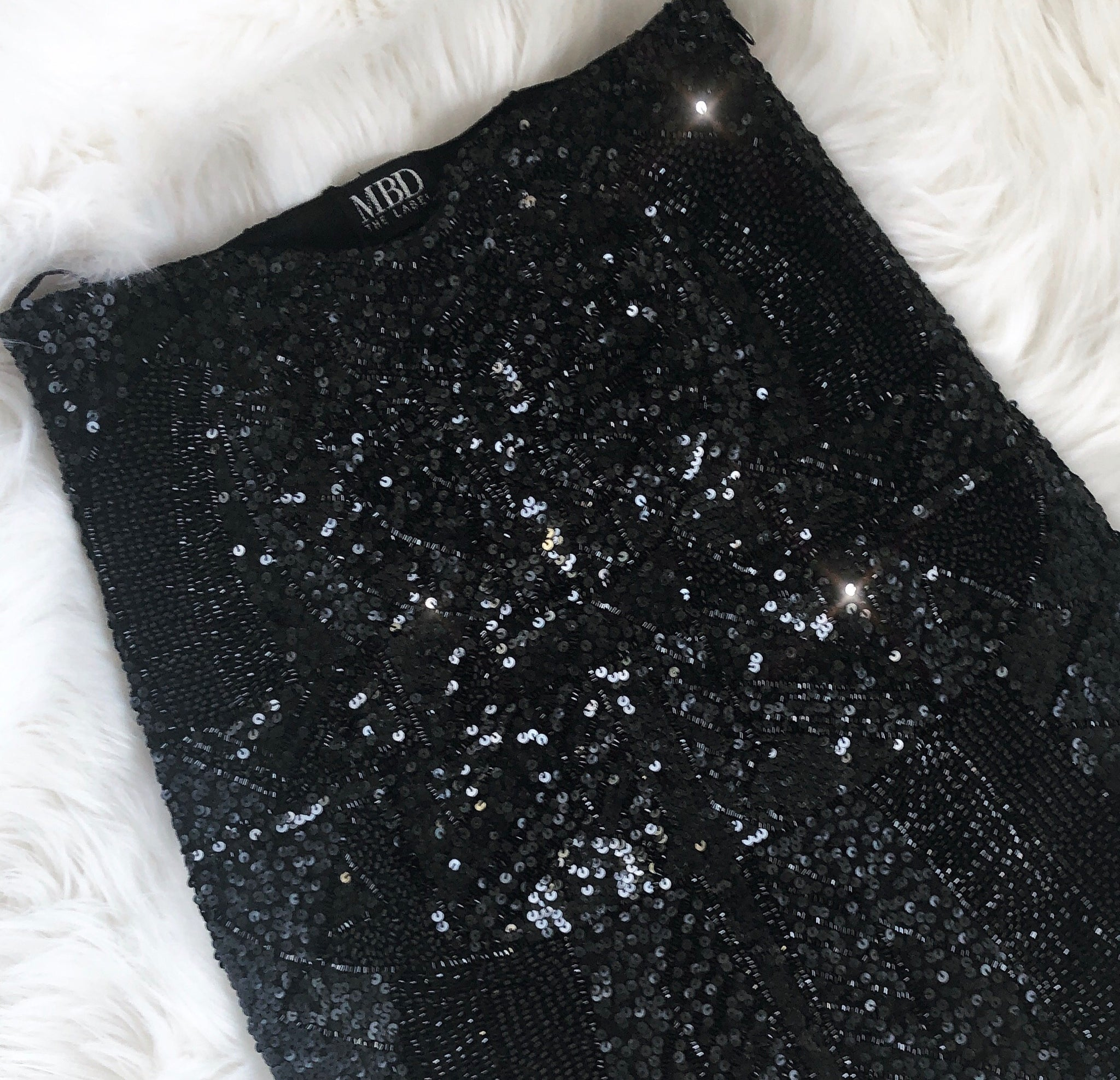 BLACK Sequin midi (knee) skirt