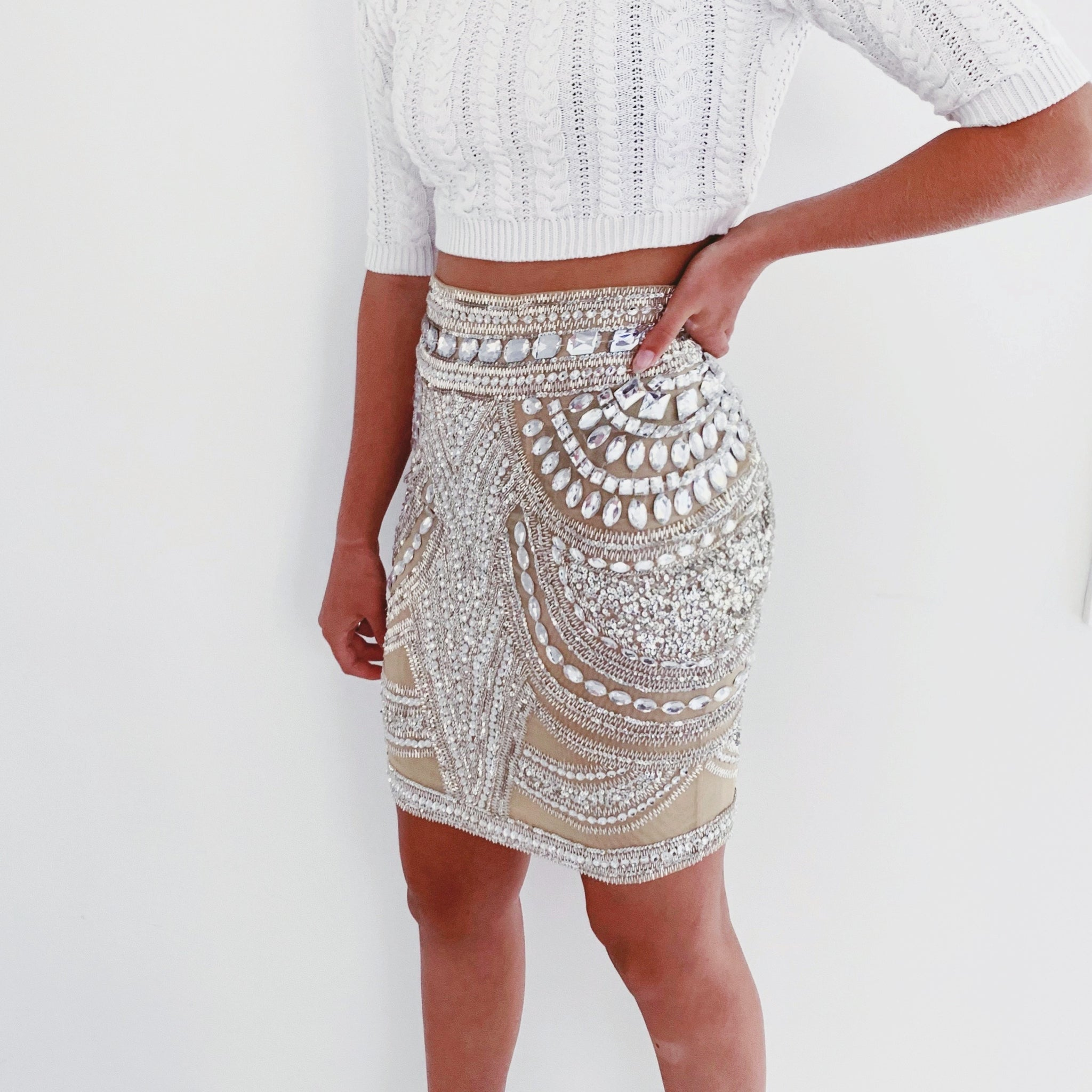 CRYSTAL NUDE Mini Bodycon