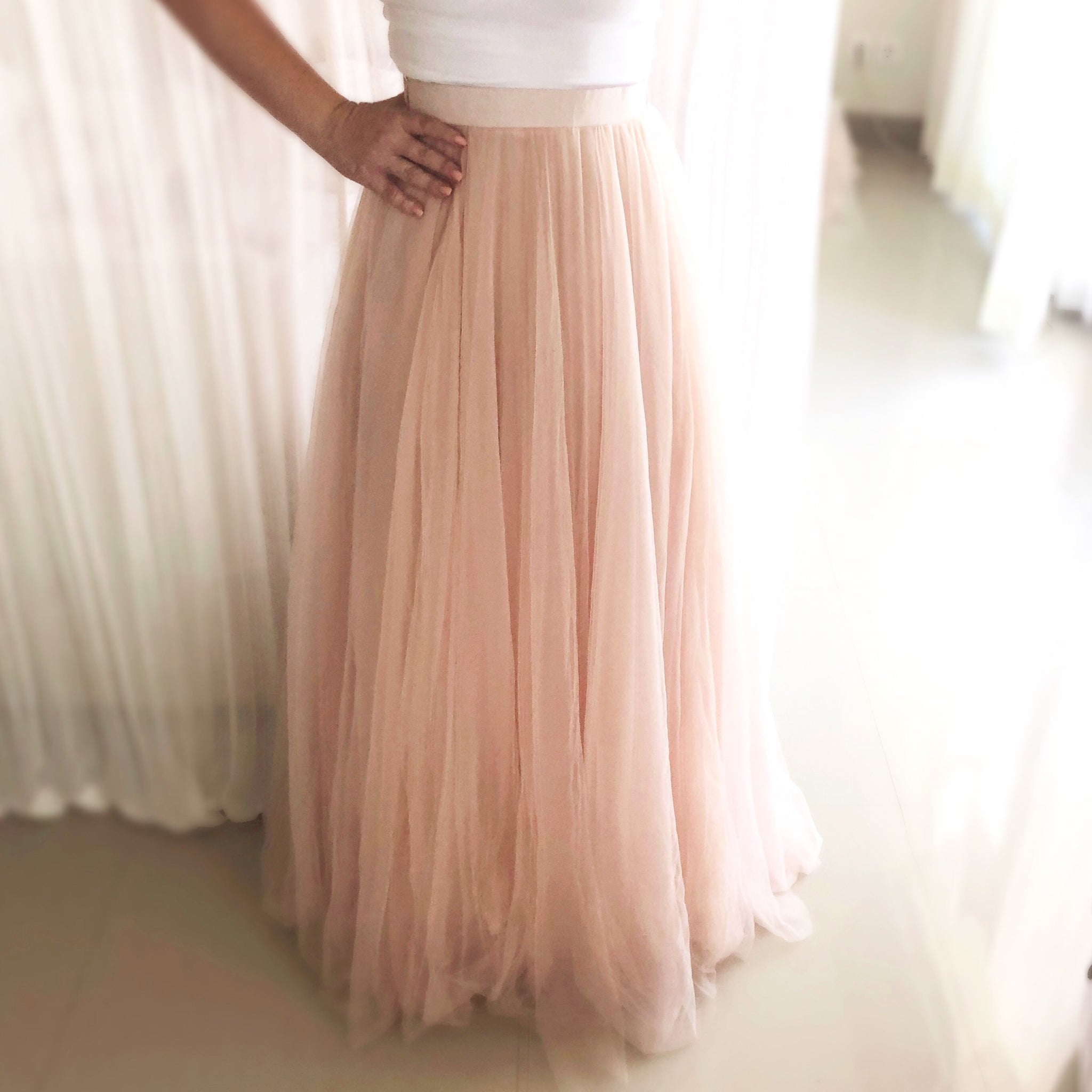 Haute Tulle - Long Nude Pink Adults Tulle Skirt