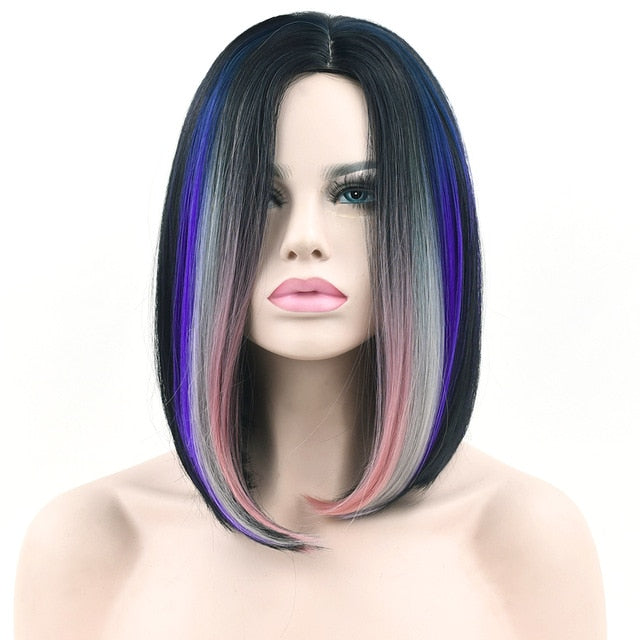Soowee 11 Colors Black To Purple Ombre Color Synthetic Hair Bob Wig for Women Straight Hair Cosplay Wigs Hair Accessories