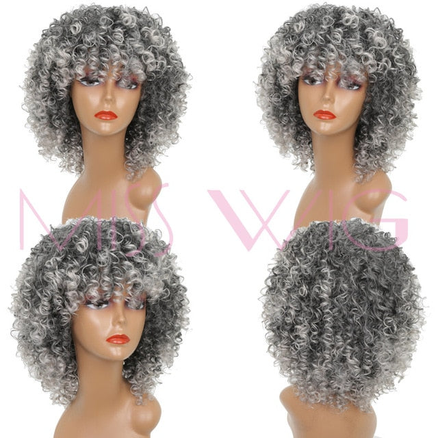 MISS WIG 16Inches Long Afro Kinky Curly Wigs for Black Women Blonde Mixed Brown Synthetic Wigs African Hairstyle