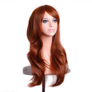 Soowee 70cm Long Wavy Brown Wig Hairpieces Synthetic Hair Female Blonde Pink Cosplay Wigs for Black Women Perruque