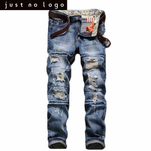 Mens Vintage Blue Jeans Ripped Zipped Jeans Destroyed Holes Distressed Straight Slim Fit Denim Pants HipHop Punk Trousers