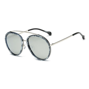 Retro Premium Classic Polarized Brow-Bar Circle Round Oversized Fashion Sunglasses for Men and Women