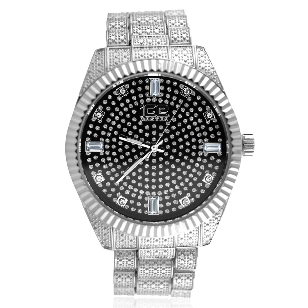 Black Pave Dial Fluted Bezel Classic Bling Metal Watch