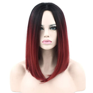 Soowee 11 Colors Synthetic Hair Black To Red Ombre Hair Short Straight Bob Wigs High Temperature Fiber Cosplay Wig for Women