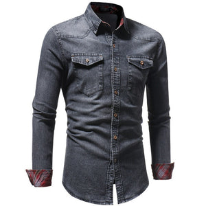 Men's Autumn Winter Vintage Broadcloth Polyester Distressed Solid Denim Stand Collar Long Fashion Casual Sleeve T-shirt Top
