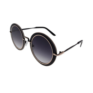 Round Gold and Black Frame Sunglasses