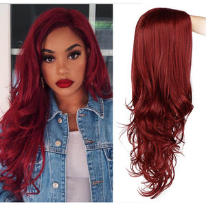 Long Red Wavy Synthetic Wig For Black/White Women High Density Temperature Hair Glueless Wave Cosplay Hair Wig AISI HAIR