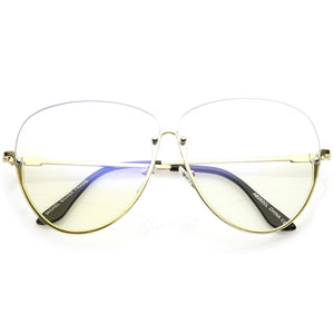 Oversize Semi-Rimless Eye Glasses Rivet Details Clear Lens 64mm