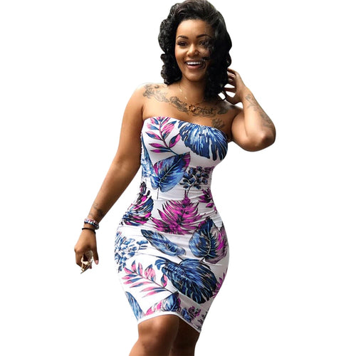 Casual Floral Print Beach Party Bodycon Dress