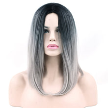 Soowee Black Gray Purple Ombre Color Synthetic Hair Short Bob Wig for Women Straight Hair Cosplay Wigs Party Hair Accessories