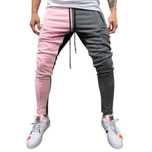 Fashion Men's Casual Solid Loose Vintage Color Block Patchwork Elastic Waist Sport Sweatpant Trousers Jogger Pants #20