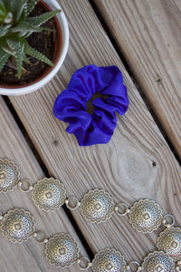 royal blue silk scrunchy