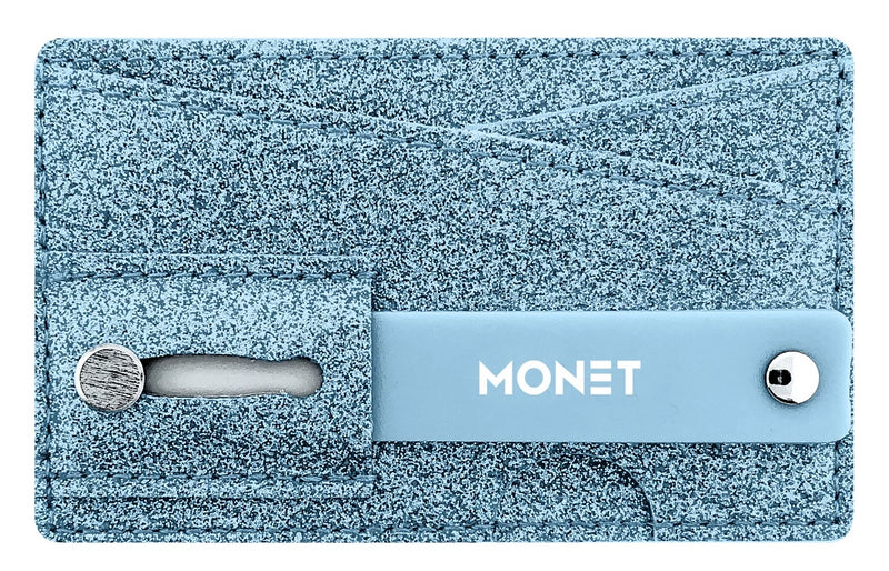 Monet Smartphone Slim Wallet w/Ultra Grip | Card Holder | Kickstand | Blue Glitter