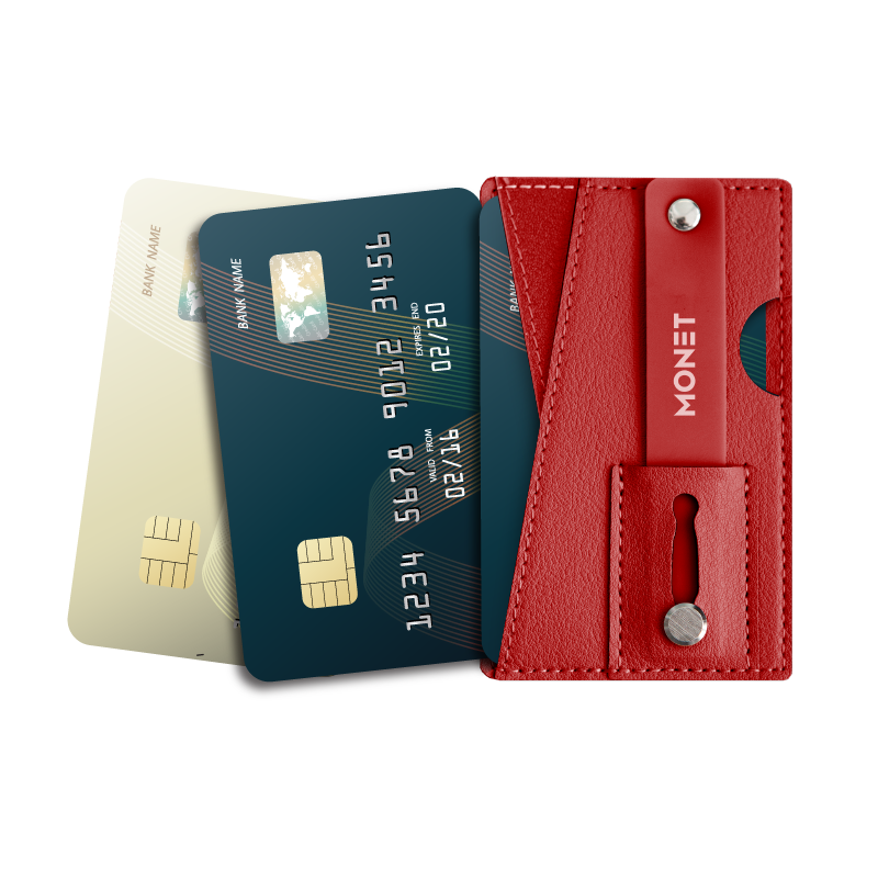 Monet Ultra Grip 3-in-1 Smart Phone Wallet | Card Holder | Kickstand | Red