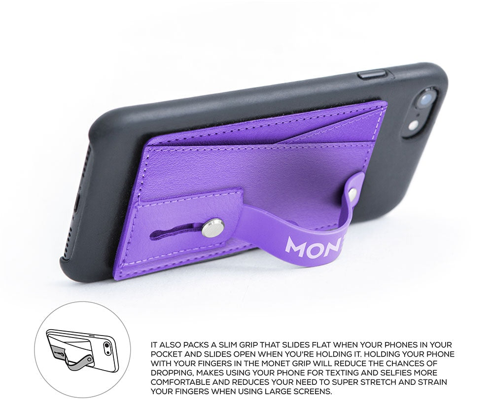 Monet Ultra Grip 3-in-1 Smart Phone Wallet | Card Holder | Kickstand | Barney Purple