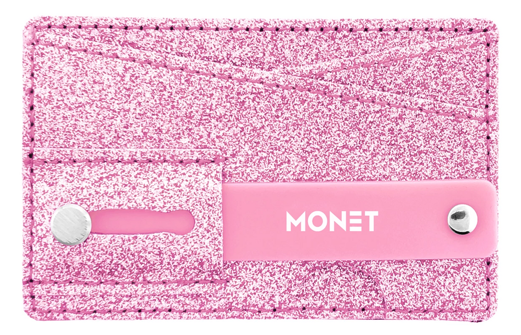 Monet Smartphone Slim Wallet w/Ultra Grip | Card Holder | Kickstand | Pink Glitter