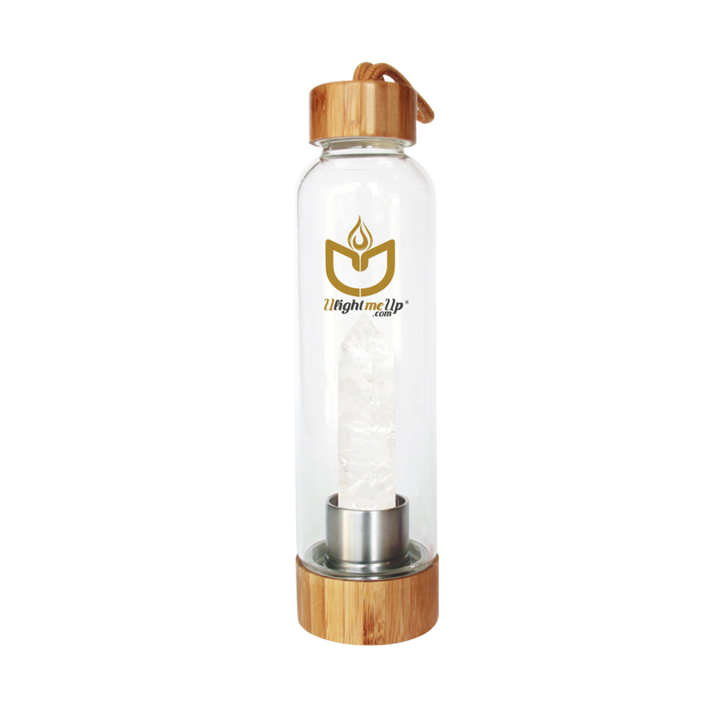 Bamboo Crystal Elixir Water Bottle - Clear Quartz - Power - ULightMeUp