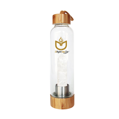 Bamboo Crystal Elixir Water Bottle - Clear Quartz - Power