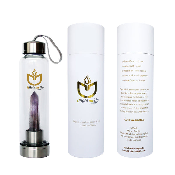 Stainless Steel Crystal Elixir Water Bottle - Amethyst - Calm - ULightMeUp