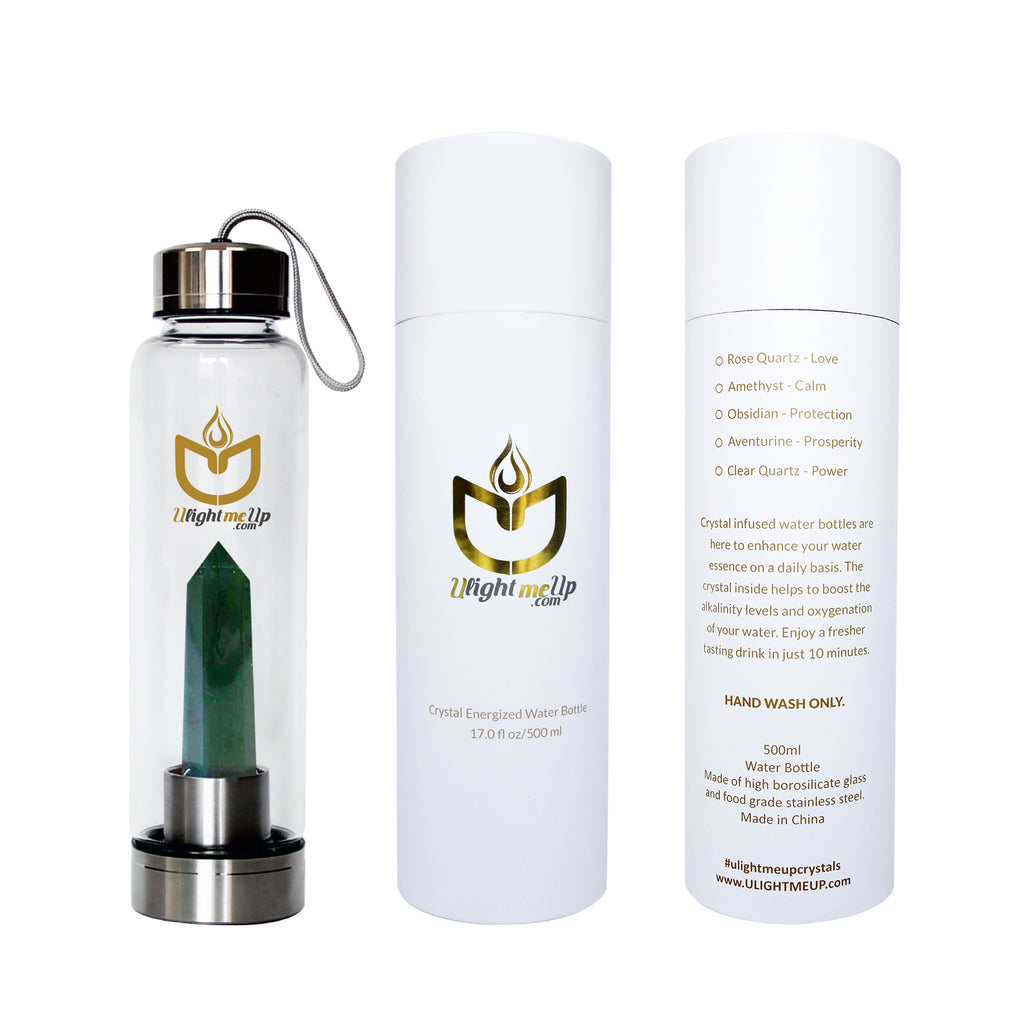 Stainless Steel Crystal Elixir Water Bottle - Aventurine - Prosperity - ULightMeUp