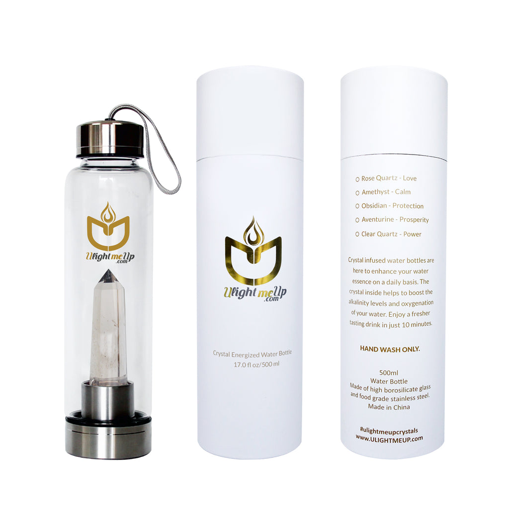 Stainless Steel Crystal Elixir Water Bottle - Smoky Quartz - Detoxifier - ULightMeUp