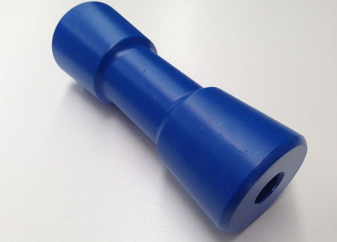 "BOAT TRAILER KEEL ROLLERS - BLUE HARD POLY 6"" (suit 16mm pin) - AUSTRALIAN MADE"