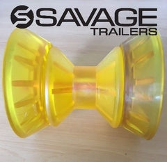 "YELLOW 3"" POLY BOW ROLLER - WITH END PROTECTORS - SUITS FIBREGLASS BOATS"