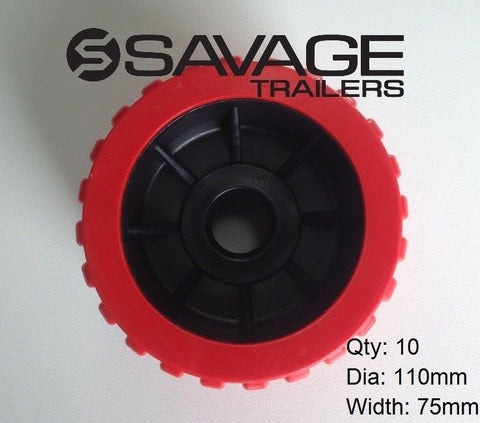 BOAT TRAILER WOBBLE ROLLERS RED BLACK x 10 AUSTRALIAN MADE 110mm dia x75mm wide