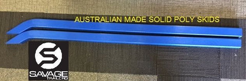 AUST MADE BOAT TRAILER BUNKS SKIDS BENT SOLID POLY BLUE PAIR 70x40x2000 FOR ALUMINIUM BOAT