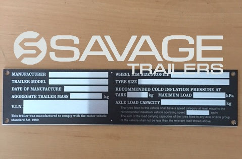 GENERIC TRAILER VIN PLATE / COMPLIANCE ID PLATE