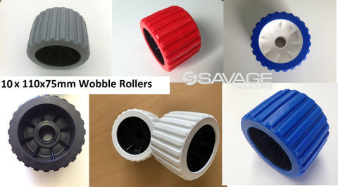 "4"" BOAT TRAILER WOBBLE ROLLERS VARIOUS COLOURS - 110 x 75mm x 10 ROLLERS"
