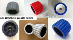 "4"" BOAT TRAILER WOBBLE ROLLERS VARIOUS COLOURS - 110 x 75mm x 12 ROLLERS"