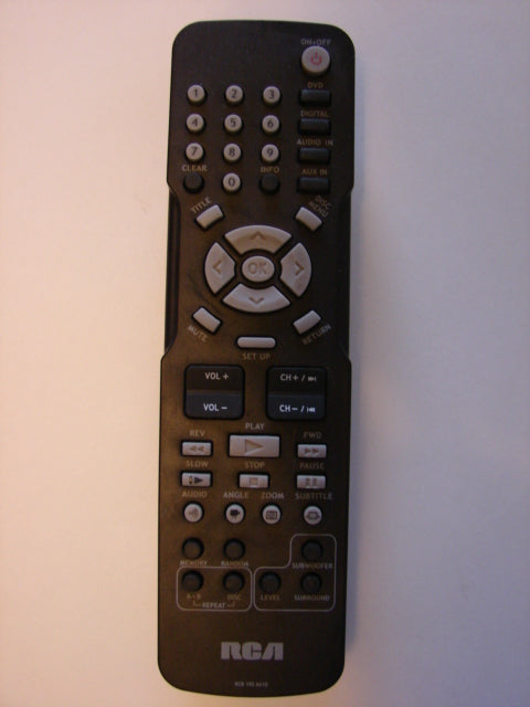 photo of front of the RCA RCR 192 AA10 DVD player Home Theatre Remote Control