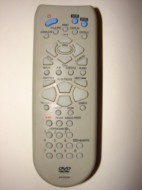 frontal view of 97P1R2ZJA5 DVD Player VCR Remote Control