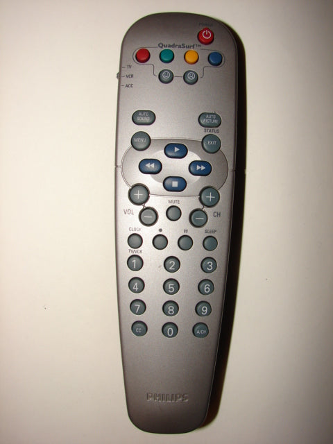 Philips QuadraSurf TV VCR Player Remote Control RC19036002/01 front