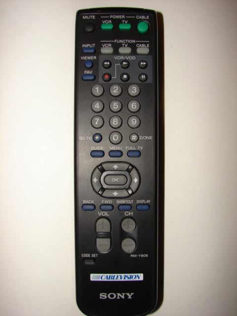 Sony RM-Y806 TV VCR Remote Control front image