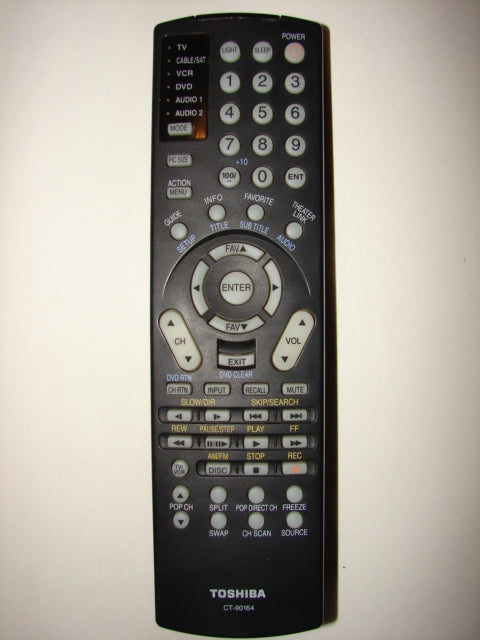 front view of Toshiba CT-90164 TV DVD Player VCR Cable Satellite Remote Control