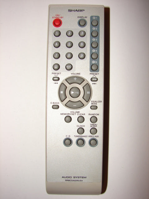 Sharp RRMCGA029SJSA Audio System Remote Control front