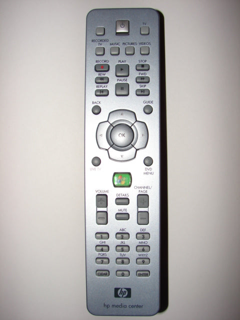 HP Media Center RC1314302/00 TV DVD Remote Control 5187-4055 3139 228 62611 frontal view