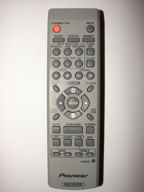 AXD7406 Pioneer Receiver Remote Control 41216A frontal view