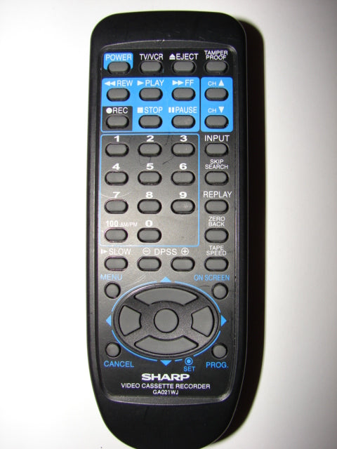 GA021WJ Sharp Video Casette Recorder VCR Remote Control Unit top photo