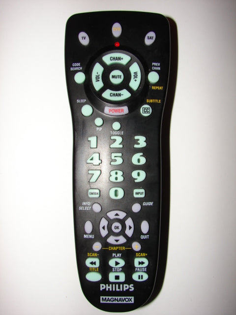 HE016 12/02 Philips Magnavox TV DVD Satellite Remote Control top photo